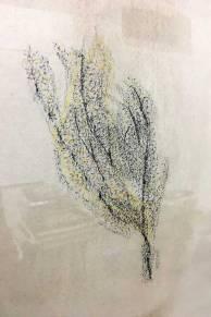ST (proceso de un movimiento) | Dayana Garrido | Técnica mixta dibujo fróttage y pintura acrílica, lápices de colores crayón y objetos encontrados | 25x40 cm | 2019 | 180 USD (detalle)