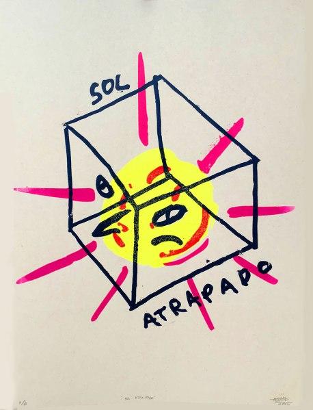 Sol Atrapado | Matias Páez | Serigrafía a 3 tintas PVC impresa sobre papel de caña Ed. 10/10 | 2019 | $90 (Sin marco)