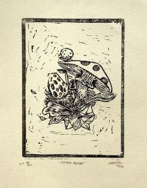 Tierra Mojada | Matias Páez | Lino grabado impreso sobre papel de caña | 20x30 cm Ed. 14/80 | 2018 | $50 (Sin marco)