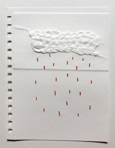Lluvia | Pamela Suasti | Gofrado y bordado sobre papel | 21x15 cm | 2020 | 200 USD (Sin marco)