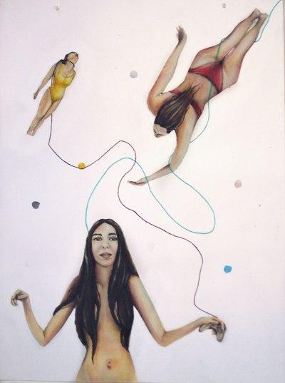 La Voluntaria (MUJERES QUE NADAN) | Fernanda Bertero | Pintura a óleo sobre plástico ensamblado en resina | 45 x 30 cm | 2016 | 200 USD