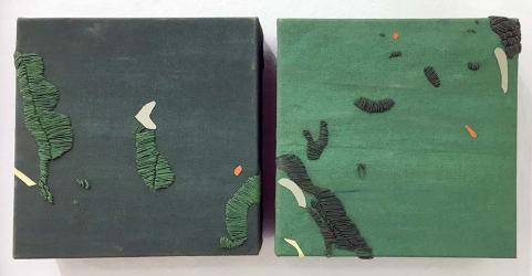 ST | Andrea Vivi Ramírez | Lienzo, hilos bordados y acrílico | 20 x 20 cm c/u | 2015 | 160 USD