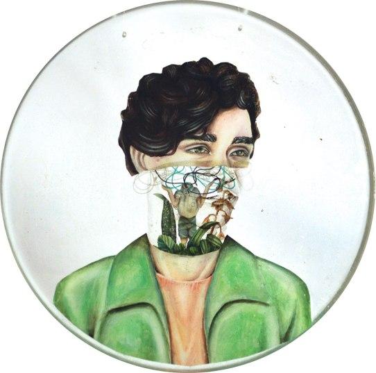 Biotopo (ECOSISTEMA DENTRO DE CABEZA) | Fernanda Bertero | Pintura a óleo sobre plástico ensamblado en resina | 30 cm diámetro | 2016 | 200 USD